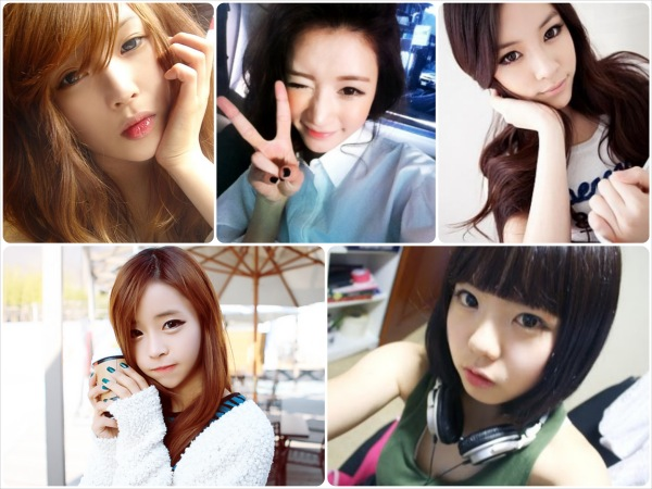 "Ulzzang and their poses - note the placement of hands, hair, and props to create the ""V-line"" illusion"